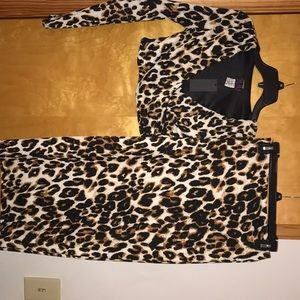 Leopard crop top and midi skirt set